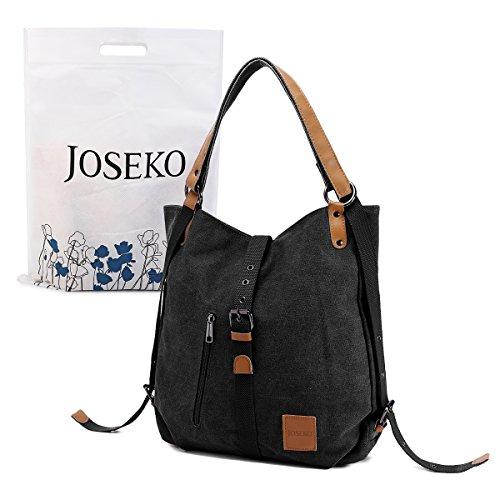Vintage Canvas Damen Schultertasche Handtasche, JOSEKO Retro Rucksack Multifunktionale Tasche Umhängetasche für Reise Outdoor Schule Schwarz