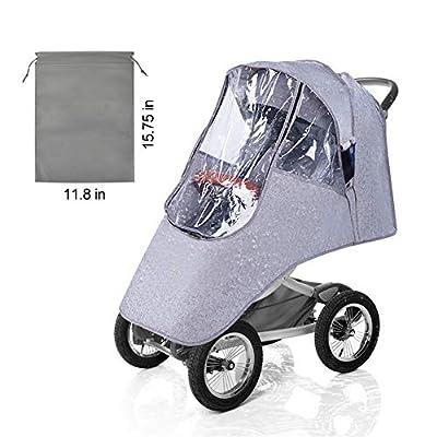 VDROL Funda Impermeable para Cochecito de Bebé Funda Impermeable para Lluvia Polvo de Viento Universal, Protección contra Viento a Prueba de Viento Escudo, Lino + PVC