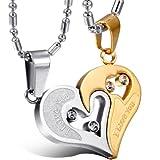 OIDEA 2PCS Freundschaftsketten mit Anhänger, Edelstahl Strass I Love You Gravur Herz Puzzle Design Partneranhänger mit Halskette, Gold Silber