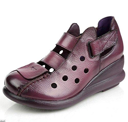 Retro sandali da donna pendenza con crosta spessa pelle cave Xia Jiping scarpe fondo coreani femminili dei sandali romani Purple