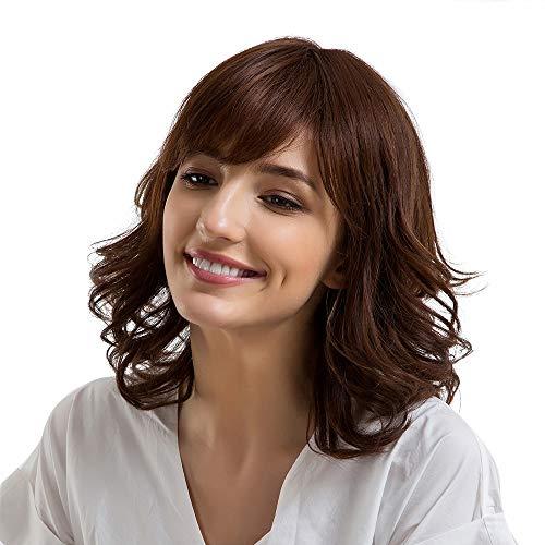 (Rifuli® Perrücke Damen Echthaar braune Perücken mit Pony gerade/lockige Wellenperücken mittlerer Länge Perücken Haarteile für Erwachsene)