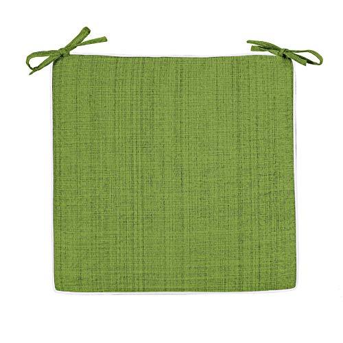 Delindo Lifestyle Coussins de chaises exterieur SAMBA vert, lot de 2, imperméable anti tache, pour la maison et jardin, carré 40x40 cm