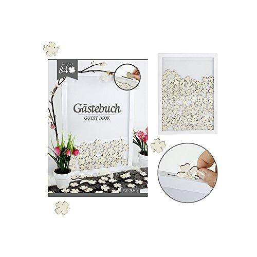 art decor modernes Gästebuch im Rahmen mit 84 Glücks Kleeblättern zum Beschriften