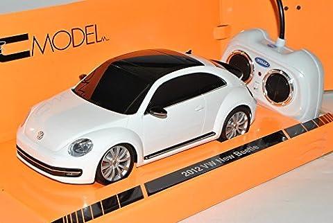 VW Volkswagen Beetle New Coupe Ab 2011 Weiss RC Funkauto 1/24 Welly Modell Auto mit individiuellem Wunschkennzeichen