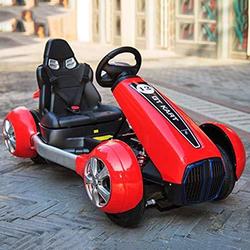 HHtoy Kinder elektroauto vierrädrig mit 2,4g Bluetooth Fernbedienung auf Toys Auto for Kinder Spielzeug früherziehung schillernde Lampe explosionsgeschützte Rad ledersitz (Color : Rot)
