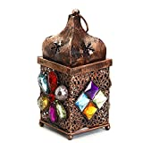 Aapno Rajasthan Metal Tea Light Holder With Colored Glass Stone (Copper)