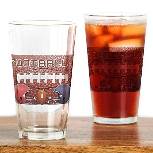 CafePress-Football mit Helmen-Pint-Glas, 16oz Trinkglas farblos (Schweinsleder-football-helm)