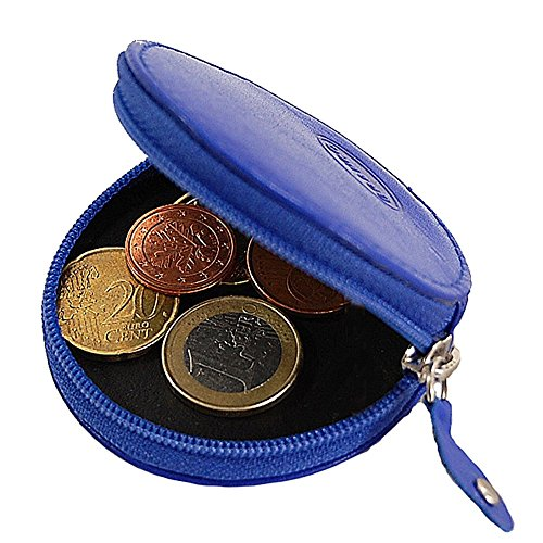 Branco runde Münzbörse Mini Leder Geldbörse Geldbeutel Portemonnaie Partybörse Börse GoBago (Rot) Natur