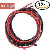 YCNK 12 Füße 14 Gauge (AWG) Super Weich und flexibel Silikon Gummi Draht Kabel Schwarz/Rot