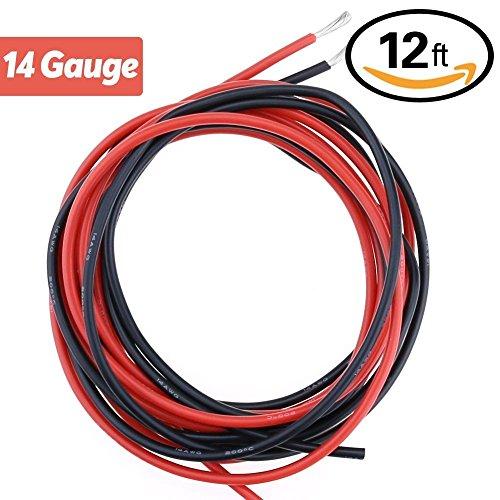 YCNK 12Feet 14 Gauge (AWG) super morbida e flessibile in silicone Wire Cavo in gomma Nero / Rosso