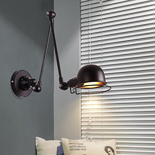 Große Eiserne Wand (BOOTU LED Wandleuchte nach oben und unten WandleuchtenRetro-Kipphebel Teleskopantenne klappbarer Schlafzimmer Nachttischlampe Studie Büro eiserne Wand Lampen, eine große, schwarze Lange))
