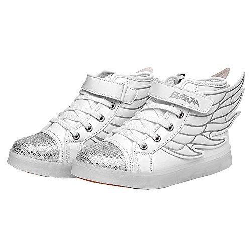 Crianças Udreamtime 7 Cores Led Piscando-sneakers Calçados Esportivos Com Asas Brancas