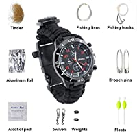 Survival Bracelet Watch,MOACC Paracord Multifunctional Outdoor Survival Kits with 12 tools including Paracord Rope, Compass, Whistle, Rope Cutter, Fire Starter Scraper, Flint