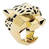 Flyonce Anillos para Mujer Serie de Animal Leopardo Salvaje Guapo Zirconias Oro para Regalo Novia Chica Tamaño S