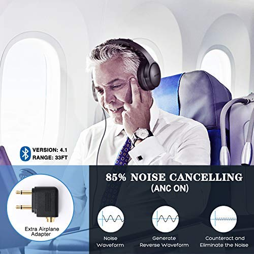 KAMTRON Bluetooth Kopfhörer Noise Cancelling Kabellos - HiFi Stereo Bass Over Ear Headset mit Mikrofon, 26-Stunden-Wiedergabezeit, Flugzeugadapter, faltbar für Reisen und Arbeiten, PC/Handy / TV - 2
