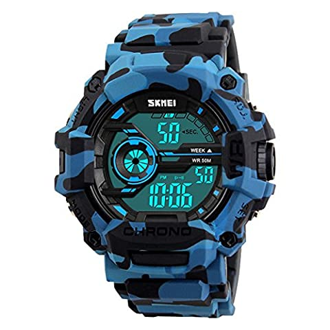 XLORDX Herren Kinder Digital Armbanduhr LED Camo Sportuhr Stoppuhr Wecker Wasserdicht Quarzuhr Taschenuhren (Sportuhr Herren Blau)