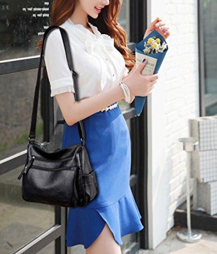 LAIDAYE Damen Handtasche Schulter Messenger Bag Damen Schultertasche Multi-Color Optional Blue