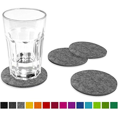 FILU Filzuntersetzer rund 8er Pack (Farbe wählbar) hellgrau - Untersetzer aus Filz für Tisch und Bar als Glasuntersetzer / Getränkeuntersetzer für Glas und Gläser ? grau