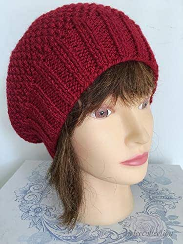 Women's Warm Red French Beret Hand Knitted in a Textured