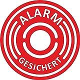 5er Aufkleber-Set Alarm-gesichert I hin_067 I Ø 6 cm I Achtung Gebäude, Objekt besitzt Alarmanlage I für Fenster-Scheibe und Tür I innenklebend