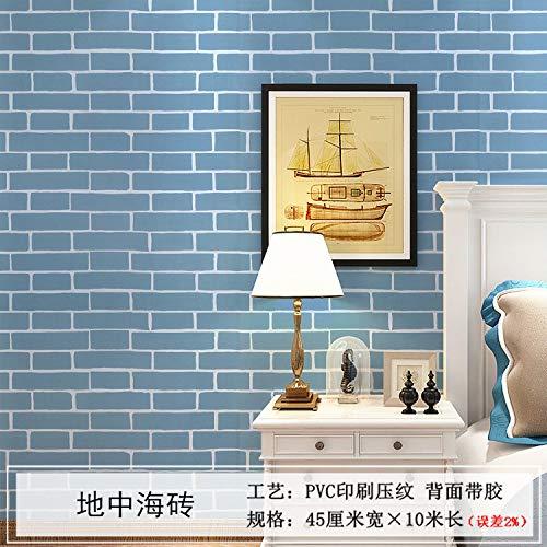lsaiyy wasserdichte Selbstklebende tapete Nachahmung Ziegel Aufkleber Schlafzimmer Wohnzimmer hintergrundbild tapete-45 cm X 10 M (Das Ziegel Für Kochen)