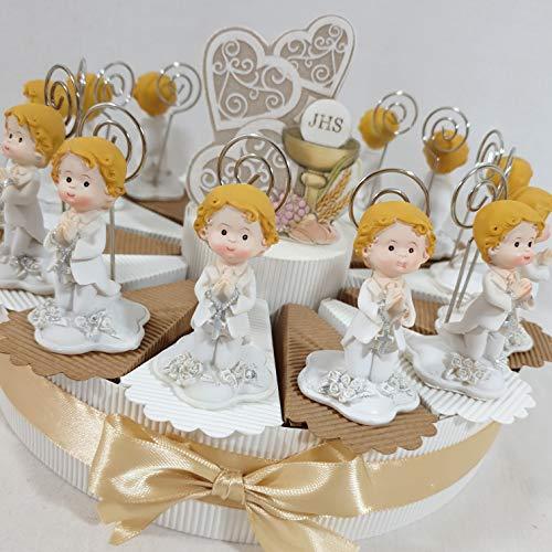 Bomboniere comunione portafoto bimbo sacramento completa di confetti (torta 14 fette bimbo clip)