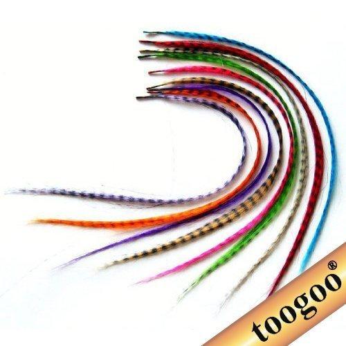 TOOGOO(R) 18 Stueck Haarverlaengerungen aus synthetischen Federn mit Perlen - Synthetische Haarverlängerungen