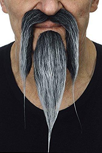 Schwarzweißer Shaolin Schnurrbart mit Bart (Behaarte Mann Kostüm)