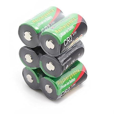 SUPEREX® 6 PCS 1 Word 3V 400mAh CR2 15270 15266 Rechargeable lithium ion LiFePO4 Batteries Li-ion Battery for digital camera photo comcorder flashlight toys
