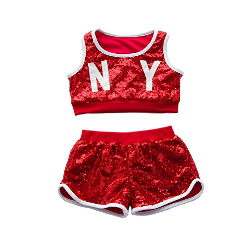 VoleseniTM Mädchen Jungen Kinder Modern Jazz Hip-Hop Dancewear Kids Dance Pailletten Kostüme, Girls(Top+Shorts), 140 ()