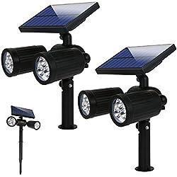 Lámparas Solares Luz de Jardín Focos Led Exterior con 350 Lúmenes, 2 Modos y Impermeable IP65, Apliques de pared Solar Ajustable con Funciona de 8 Horas para Jardín Patio Terraza Calzada