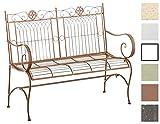 CLP Gartenbank PURUSHA aus lackiertem Eisen I Sitzbank im Jugendstil I Eisenbank mit 2-3 Sitzplätzen I In Verschiedenen Farben erhältlich Antik Braun