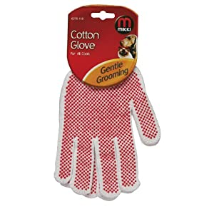 Mikki Grooming Cotton Glove for All Coats, White, 1 Pair 1