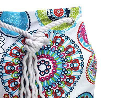 Blauer Rucksack mit buntem Mandala, veganer Seesack aus Canvas, mit Kordel aus Baumwolle - 4