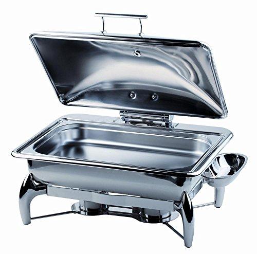 APS Chafing Dish -Globe- GN 1/1 ca. 58 x 44 cm, Höhe 32,5 cm 9 l, Edelstahl, Abnehmbarer, hydraulischer Deckel, mit Sandwichboden 9 Liter Chafing Dish
