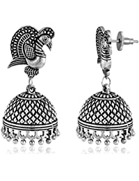 Spargz Peacock Style Oxidized Silver Plated Jhumki Earrings AIER 1005