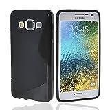 NAUC Schutzhülle für Samsung Galaxy E5 Tasche TPU Case Cover Schutz Hülle Handy Kappe, Farben:Schwarz