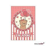 15 Einladungskarten I dv_175 I DIN A6 I Einladung Set Kinder-Geburtstag Baby-Party Baby-Shower zum Ausfüllen für Kinder Mädchen rosa