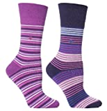 Womens Purple Stripe Cushion Foot Honeycombe Top Gentle Grip Sock By Sock Shop 4pk