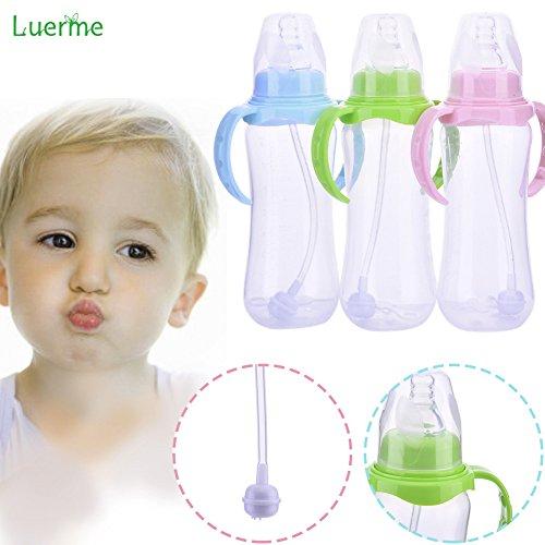 Schmutz Cup Griff (240ml Baby Trinkflasche Saugflasche, Luerme Kinder Schnuller-Typ Strohhalm Wasserflasche Trinklernflasche Trinklernbecher mit Handgriff)