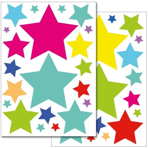 Wandkings Sterne Wandsticker Set, 42 Aufkleber, 2 DIN A4 Bögen, Gesamtfläche 60 x 20 cm