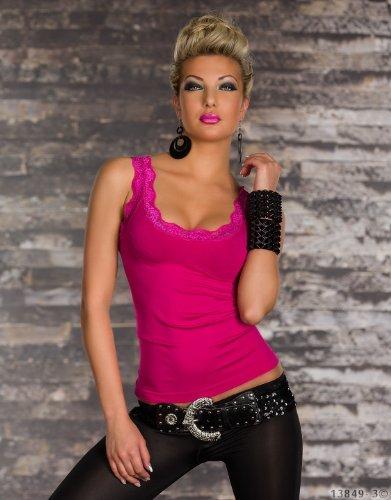 Fashion4Young 5642 T-shirt / débardeur à bretelles, avec dentelle, pour femme Rose - Rose bonbon