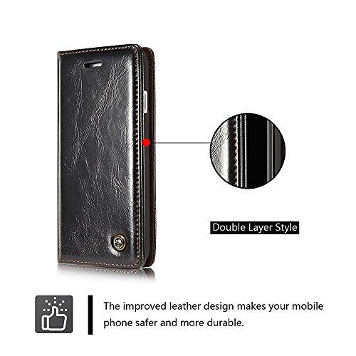 C-Super Mall-UK Apple iPhone 7 Plus hülle, Retro Doppelschicht Stil Qualität PU-Leder magnetisch Schnalle Brieftasche Stehen Flip hülle für Apple iPhone 7 Plus(Weiß) black