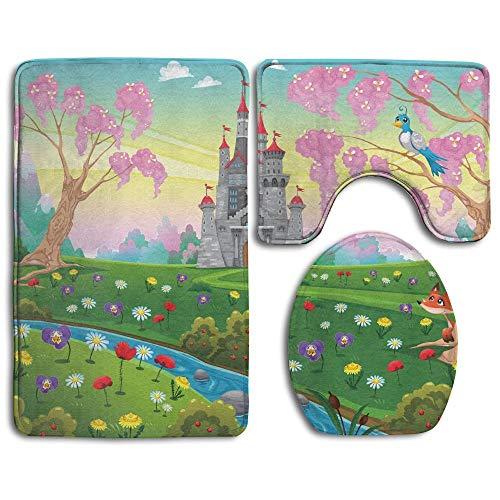 enery In Floral Garden Princess Kids Girls Fantasy Bathroom Rug 3 Piece Bath Mat Set Contour Rug and Lid Cover ()