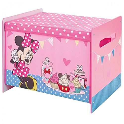 Unbekannt Disney Minnie Mouse Toy Box Spielzeugkiste Aufbewahrung Kinderzimmer Spielzeug Holz +Canvas (Spielzeugkiste Minnie)