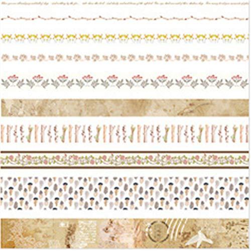 Tian Ran Dai 10 Rollen Washi Tape Set - 10mm breit, Bunte Ocean Style Design, dekorative Masking Tape für DIY Craft Scrapbooking Geschenkpapier