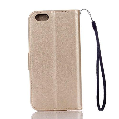PU Coque Cuir iPhone 6 (4.7 pouces), Fermeture Aimantée fente pour carte Wallet de Motif Imprimé Étui Housse en Cuir Ultra-mince Avec La Fonction Stand Pour Apple iPhone 6 (4.7 pouces) +Bouchons de poussière (7DD)