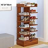 Schuhregal YNN 6 Schichten mit Schublade Haushalt Staub Tür Schuh Große Kapazität Rack (Farbe : Light Walnut)