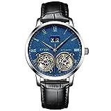 WATCHES-HAN Uhren für Männer Automatik Mechanische Uhr Echtes Leder Uhrenarmband Fashion Kalender Hollow Double Tourbillon Wasserdicht Commerce Bewegung Blau Schwarz-c
