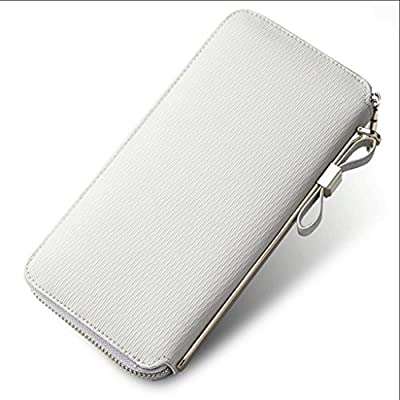 ZLR Mme portefeuille Ladies Long Section Zipper Thin Leather Multi-carte Bit Wallet Cowhide Beige Portefeuille à grande capacité
